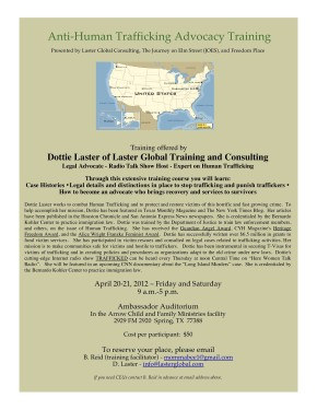 Dottie Laster Holds Anti-Human Trafficking Advocacy Training
