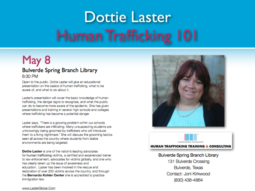 Human trafficking 101, Bulverde Spring Branch LIbrary, Dottie Laster