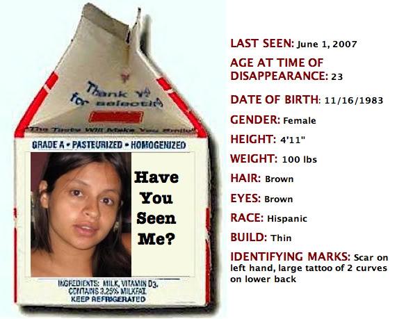 Milk carton missing person template