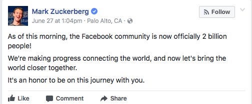 Mark Zuckerberg announcement